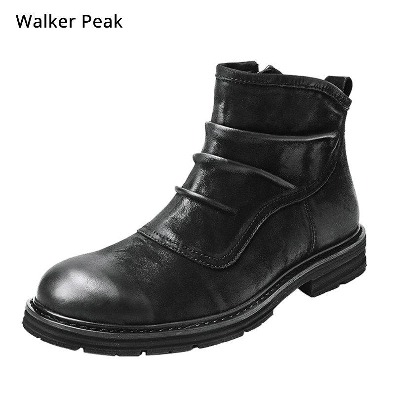 Big Size 38-52 100% Genuine Leather Mens Boots Chelsea Fashion Designer Warm Winter Shoes Brand Waterproof Ankle Snow Boots Men