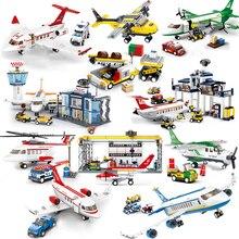 Stad Vliegtuig Serie Internationale Luchthaven Airbus Vliegtuigen Vliegtuig Bouwstenen Stelt Cijfers Bricks Speelgoed Voor Kinderen