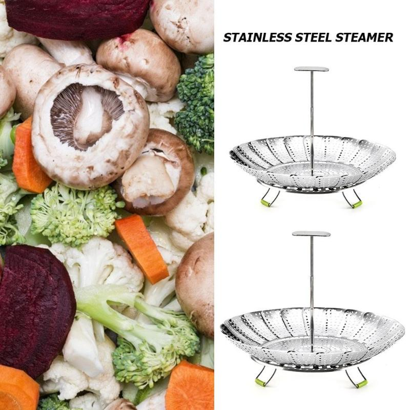 9/11inch Stainless Steel Steamer Collapsible Smooth Surface Difficult Deform Vegetable Fruits Mesh Drain Baskets Home Supply