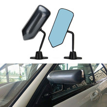 1Pair Universal Car Rearview Mirror Carbon Fiber Autos Blue Rear View Mirror Carbon racing Side Glass Wide Angle Metal Bracket