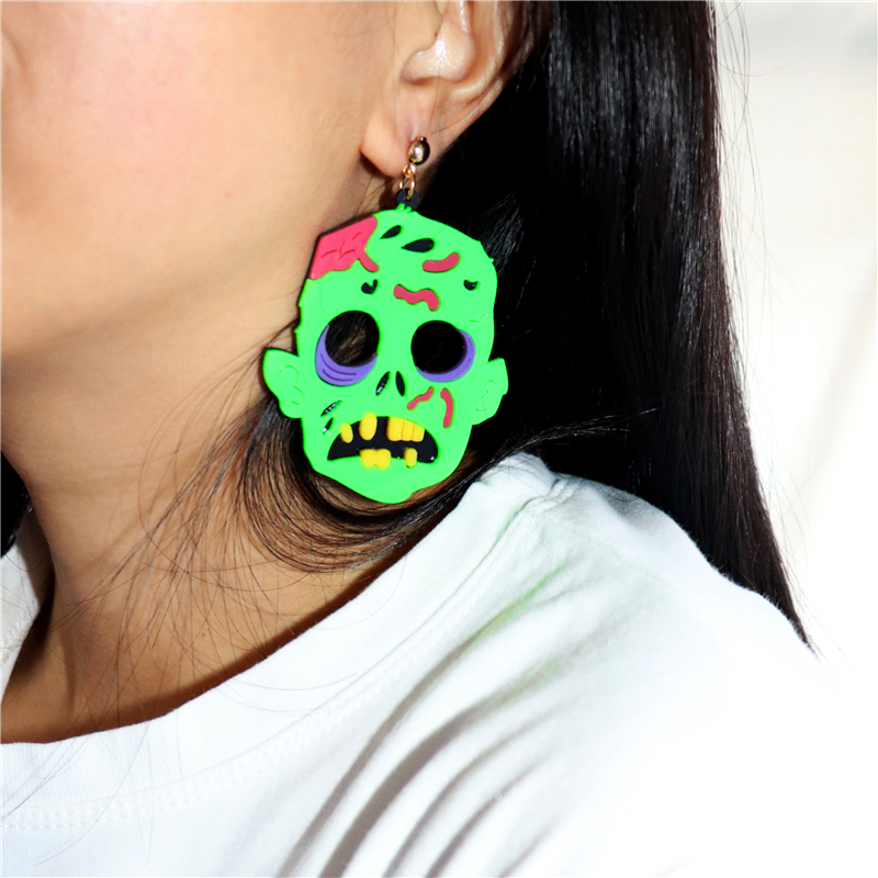 KUGUYS-pendientes de gota de zombi verde para Halloween para mujer, joyería de fantasma aterrador, 2021