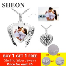 SHEON Angel Wings Personalized Engraved Photo Locket Necklace For Women 925 Sterling Silver Custom Necklaces & Pendants Jewelry personalized necklaces 925 sterling silver engraved necklaces diy personalized jewelry family children mother pendants necklace