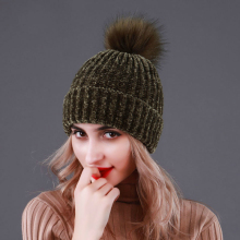 Winter Women Fur Pompom Knit Hat for Warm Knitted Beanies Skullies Hats Real Raccoon Pompon Cap