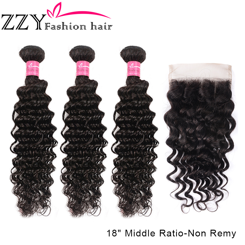 ZZY Fashion Brazilian Deep Wave Bundles With Closure 4*4 Lace Closure Hair Weave Bundles With Closure Human M Non-Remy Hair