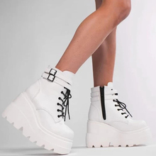 Botas de piel sintética para mujer, cuñas altas, Botines de tacón alto estilo Punk, zapatos de plataforma para invierno y otoño, 2021