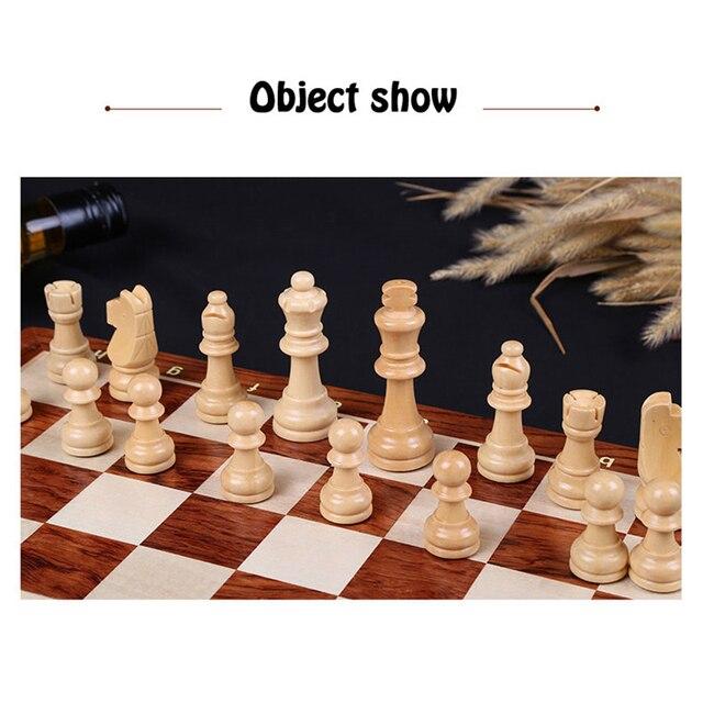 Jeu d'échecs en bois haute qualité 4 reine jeu d'échecs roi hauteur 80mm pièces d'échecs pliant 39*39 cm échiquier avec échiquier en bois I8 6