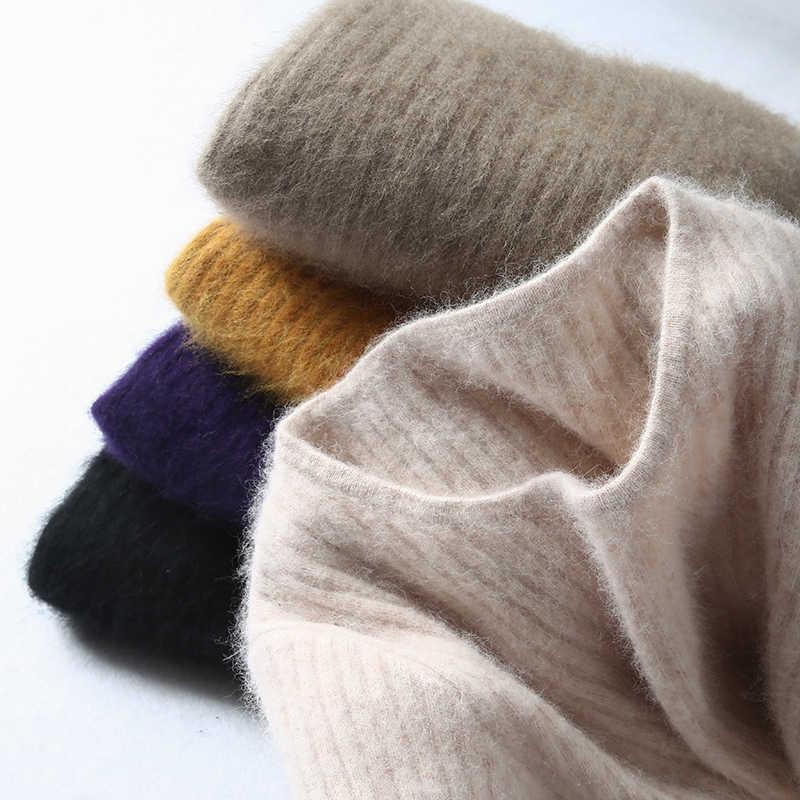 Super quente 100% mink cashmere suéteres e pulôveres inverno feminino alta elasticidade camisola macia o pescoço pulôveres básicos femininos