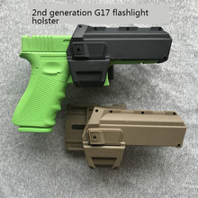 Funda de pistola móvil táctica para Glock 17 18, funda de pistola Airsoft con linterna montada en láser, de cintura derecha