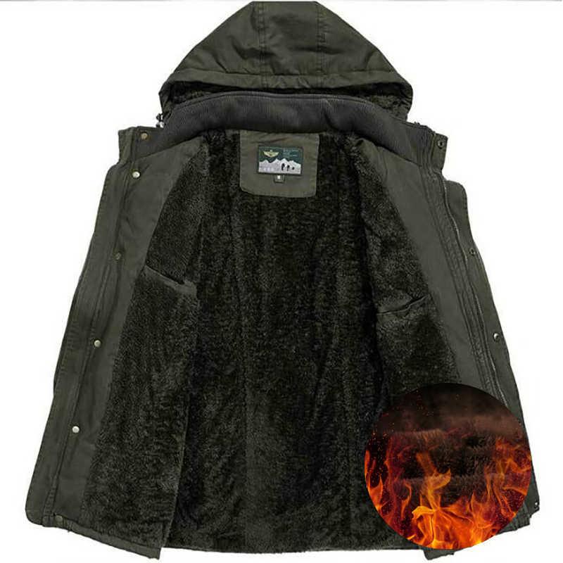 ブランドプラスサイズ冬のジャケットの男性生き抜くウールライナー綿パーカー男性ミリタリー多付きウインドブレーカーパーカー L-8XL