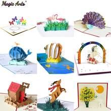 3d bonito animal pop-up cartões de feliz aniversário cartão para crianças bebê chuveiro esposa marido mulher dos desenhos animados pavão birdcage peixe cão