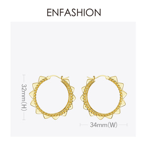 Image 5 - ENFASHION Punk Pyramid Hoop Earrings For Women Gold Color Small Circle Hoops Earings Fashion Jewelry Aros De Moda 2020 E191102