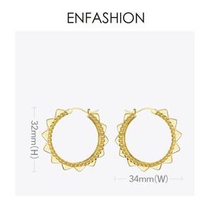 Image 5 - ENFASHION Punk piramit Hoop küpe kadınlar için altın renk küçük daire çemberler küpe Moda takı Aros De Moda 2020 E191102
