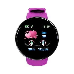 HFES D18 Bluetooth Смарт-часы для мужчин и женщин кровяное давление круглые часы водонепроницаемый спортивный трекер WhatsApp для Android Ios-фиолетовый