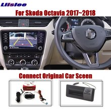 Liislee For Skoda Octavia 2017~2018 Car Original Screen Upgrade Reverse Image Rear View Camera Dynamic Trajectory Trunk Handle
