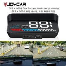 車ユニバーサルデュアルシステムhudヘッドアップディスプレイobd ii/gpsインタフェース車速mphキロ/hエンジンrpm速度超過警告走行距離