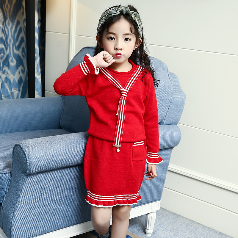Baby Girl Winter Sweater Children's Red Knitted Pullover Sweater with Skirts 2pcs Set Fall Toddler Kids Christmas Outfit Clothes