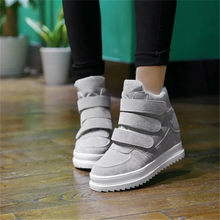 Women Ankle Boots High Heel 7CM New Autumn Platform Boots Woman Casual Punk High Top Sneakers Ladies Wedge Boots Cuissarde Femme(China)