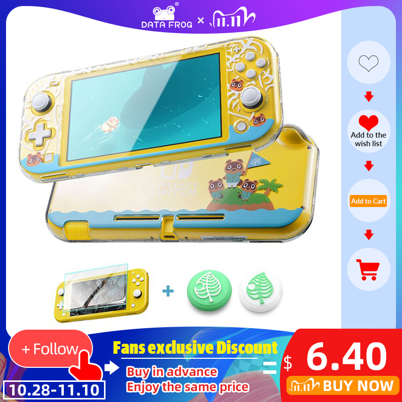 DATA FROG Transparent Hard Protective Case For Nintendo Switch Lite Console Animal Protection Clear Cover for Switch lite Case