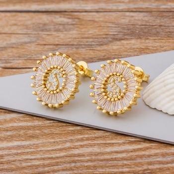 Fashion 26 Initial Letter Earrings Personalized Gift for Women Cute Alphabet AAA Cubic Zirconia Gold Stud Earrings Jewelry 5