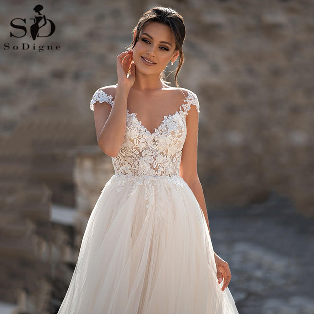 SoDigne Lace Wedding Dresses 2021 V Neck Capped Sleeves Appliques Bridal Gowns A Line Princess Wedding Gown Robe De Mariee 2