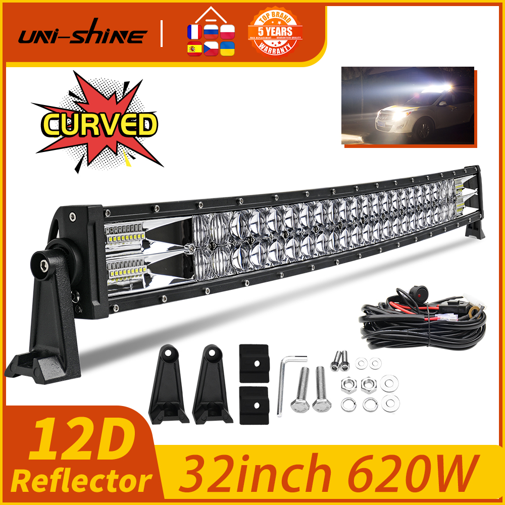 Lumières de travail combinées à linondation 32 pouces, Super brillantes, UNI-SHINE à 2 rangées, barre de LED W, pour voiture tout terrain, pour camion, 4x4, SUV, ATV, voiture 4WD, 12V, 24V, 620