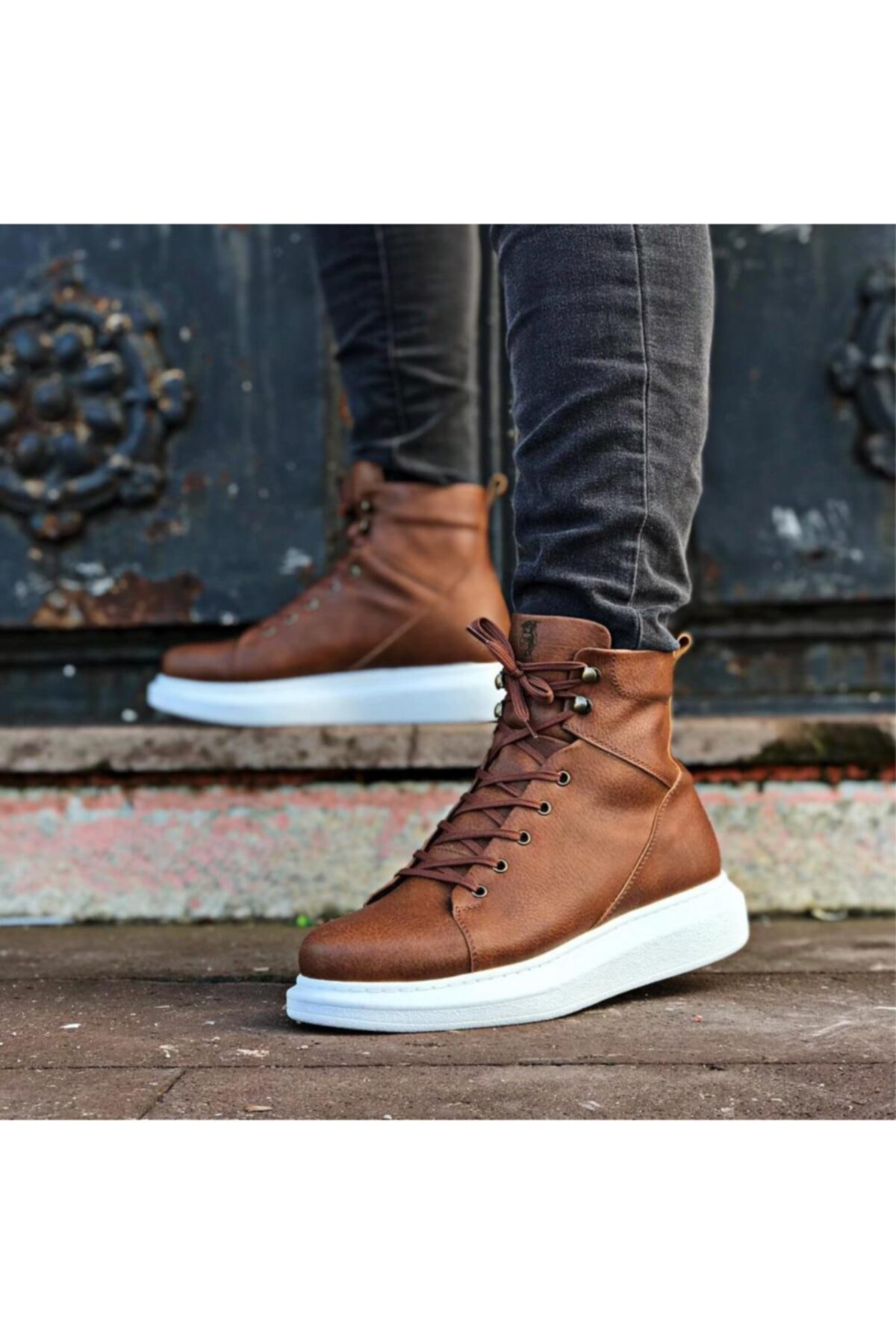 High Sole Shoes B-080 Tan 4 color sneaker model boat style stylish fashion casual platform heel van shoelaces chaussure