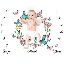 Blanket Photography Milestone-Number Cloth Background Pattern-Mat Butterfly Newborn-Baby
