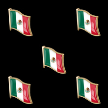 5PCS Mexico National Waving Flag Lapel Pin Made of Metal Souvenir Hat Men Women Patriotic Mexican 5pcs 2019 chile national flag patriotic metal flag lapel pin brooch accessories for clothes bag hat