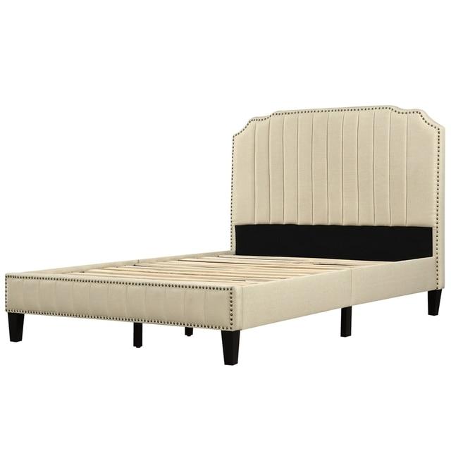 Upholstered Platform Bed With Nailhead Trim  6