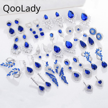 Qoolady Vintage Blue Cubic Zirconia Crystal Leaf Flower Dangle Water Drop Geometric Women Earrings Jewelry for Daily Party E014 стоимость