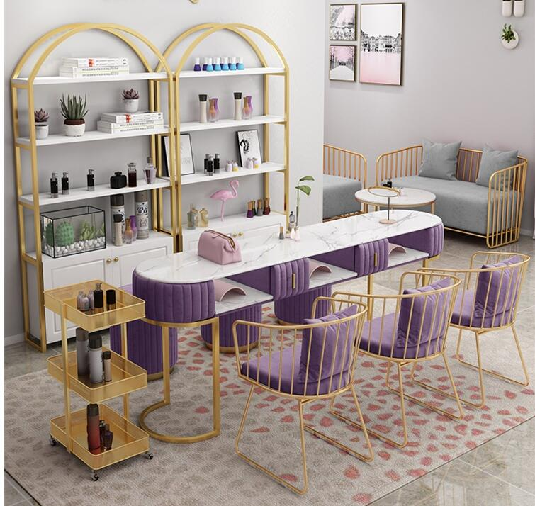 Купить с кэшбэком Marble Double-layer Nail Table and Chair Set Nordic Single Double Nail Table Net Red Economy Manicure Manicure Table