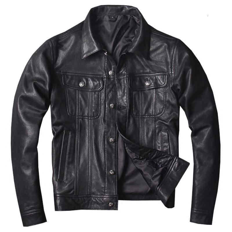 2020 New Men Black Genuine Leatehr Jacket Casual Goatskin Riding Jackets Real Slim Fit Biker Jacket S-4XL