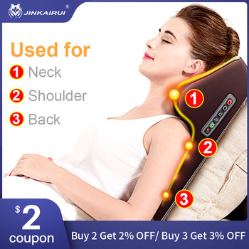 Jinkairui Neck Massager Car Home Cervical Shiatsu Massage Neck Back Waist Body Electric Multifunctional Massage Pillow Cushion car neck pillow electric massage pillow massager cushion relax neck back shoulder pillows with heating