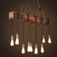 Loft Holz Vintage Industrielle Anhänger Lichter Restaurant Cafe Esszimmer Retro Holz Hängen Lampe Innen Licht Design