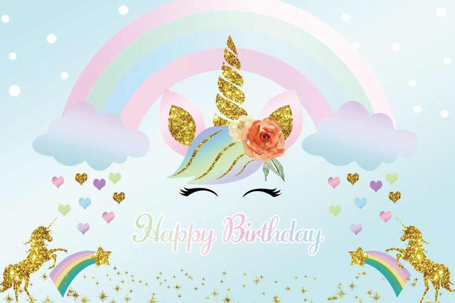 يونيكورن زهرة حفلة عيد ميلاد الخلفيات الطفل الوليد التصوير خلفيات بنات لوازم الديكور الطرف BR47