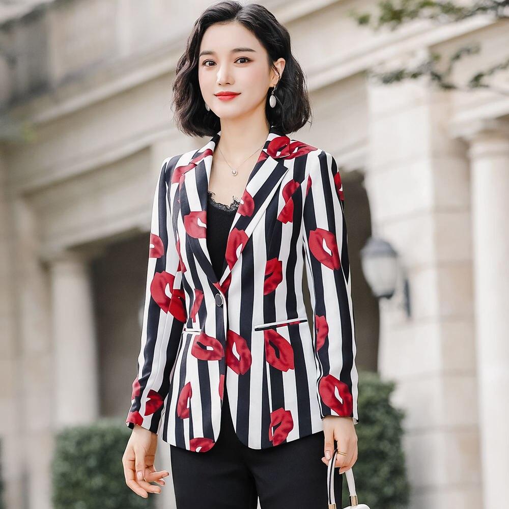 Floral Printing Blazer 4XL Plus Size Jacket Coat 2020 Spring Long Sleeve Women's Office Black Stripe Jacket Outwear 801353 - 3