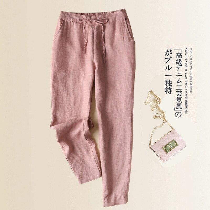 2020 herbst frauen Beiläufige Gerade Hosen Polyester Baumwolle Leinen Elastische Lose Dünne Wilde Casual Knöchel Hosen Frauen Hosen
