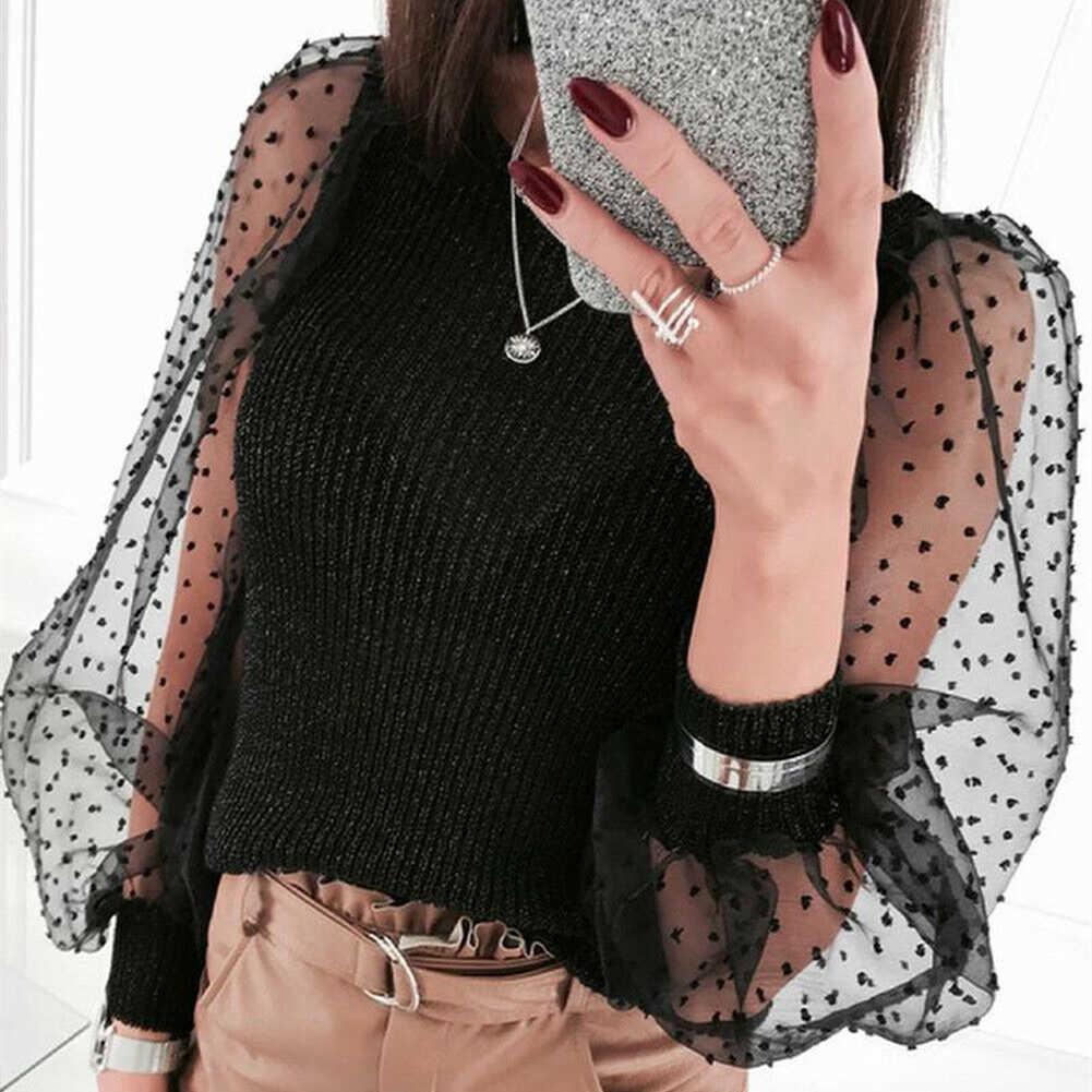 ผู้หญิงVogueถักตาข่ายพัฟแขนยาวเสื้อกันหนาวเสื้อLady Slim Pulloverเสื้อกันหนาวหญิงแฟชั่นRetroเสื้อกันหนาว