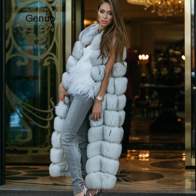 10-section Luxury Faux Fox Fur Winter Vest Jacket Sleeveless Thick Warm Horizontal Striped Long Style Fluffy Fake Fur Overcoat 3
