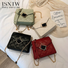 ISXTW 2019 New Rhombic Embroidered Shoulder Bag Fashion Casual Chain Messenger Trend Handbag Llassic Small Square / A15