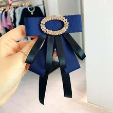 Korea Fashion Crystal Bowknot Brooch Pins Women Girl Suit Shirt Accessories Jewelry(China)