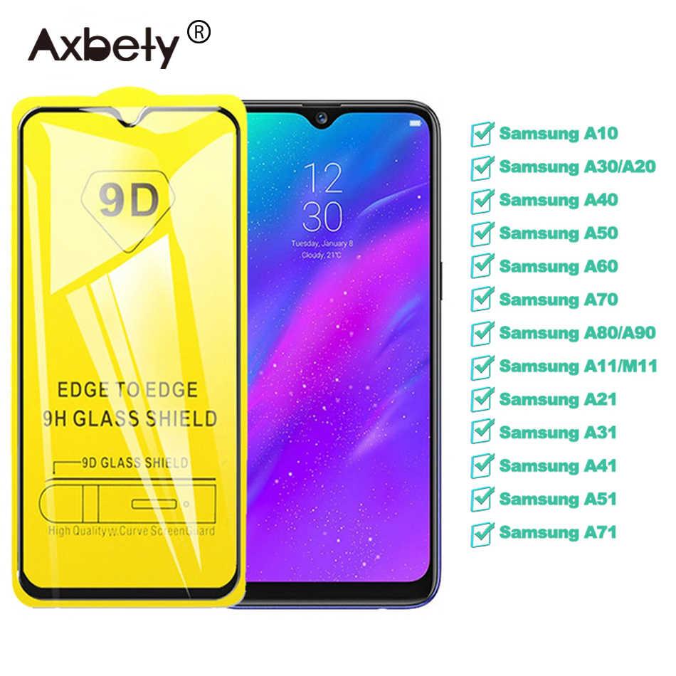 9d tela curvada completa vidro temperado para samsung a50 a10 a20 a70 m30 a6 a8 plus a7 j8 2018 protetor de tela proteger filme