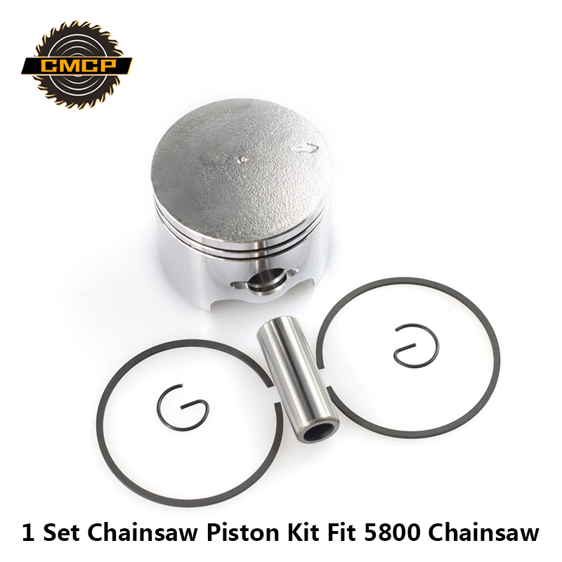 1 Set 45.2mm Chainsaw Piston Kit Cylinder Piston Set Pin Ring Kit Fit For 5800 58CC Chainsaw Spare Parts Piston Kit