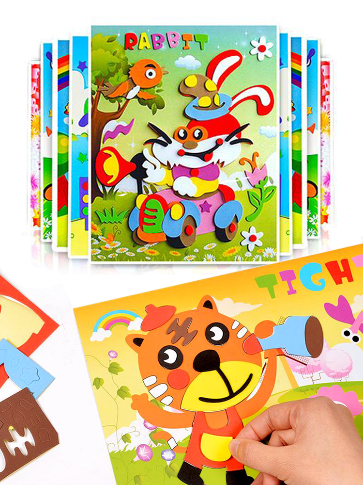 Sticker Puzzle Game Learning-Education-Toys Eva-Foam Animal Kids Children Cartoon 10pcs