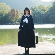 2019 hot new Japanese jk sailor suit navy led to cultivate one's morality dress uniforms dark blue skirt pleated skirt outfit