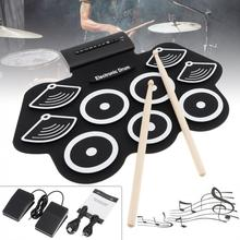 Electric-Drum-Kit Drumsticks Sustain-Pedal with And 9-Pads Thicken Silicone