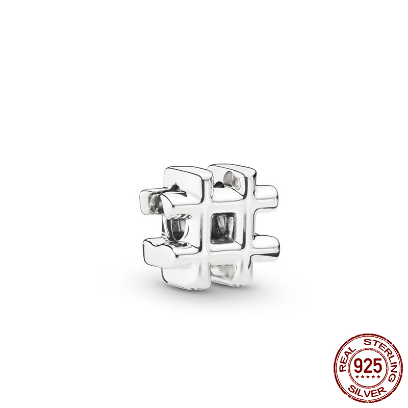 925 Sterling Silver Beads Hashtag Symbol Charms Beads for Jewelry Making fit Original Pandora Bracelet Women DIY Jewelry in Beads from Jewelry Accessories