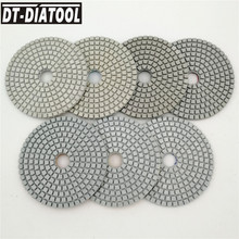 DT-DIATOOL 7pcs 100mm/4 Professional White Diamond Wet Polishing Pads High Quality Marble Granite Stone Terrazzo Sanding Discs dt diatool 7pcs 100mm 4inch grade a dry diamond polishing pads resin bond sanding discs for marble granite stone polisher discs