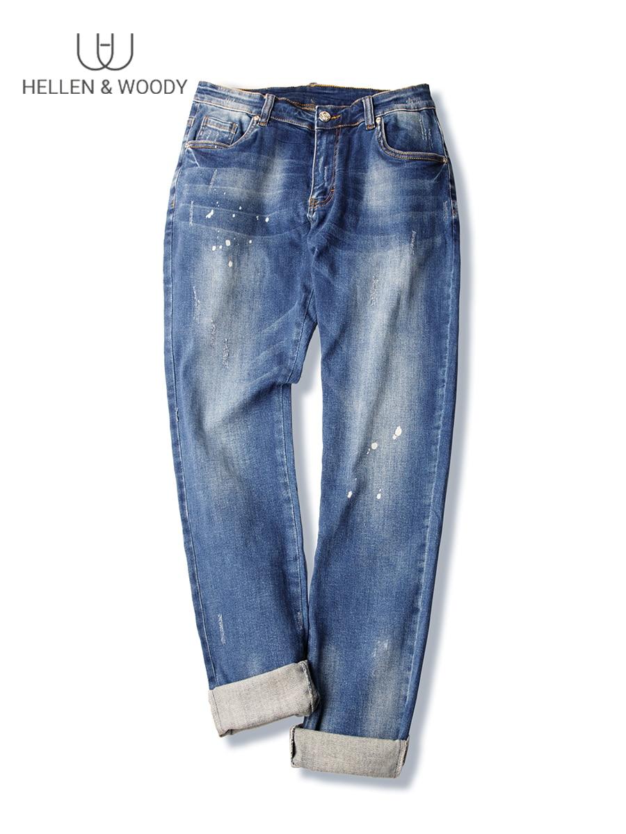 HW Men's Autumn New Elasticity Blue Straight Jeans Italy Version Of Trend Slim Designer Jeans For Mens