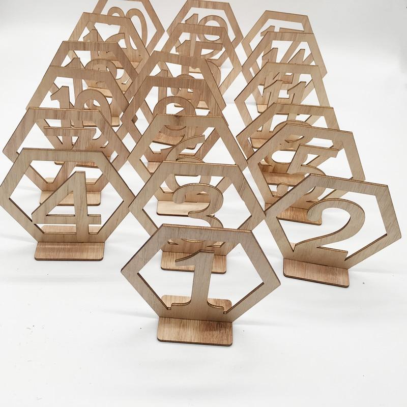 Wooden wedding supplies 1-20 hexagonal hollow digital seat plate decoration wooden table number plate